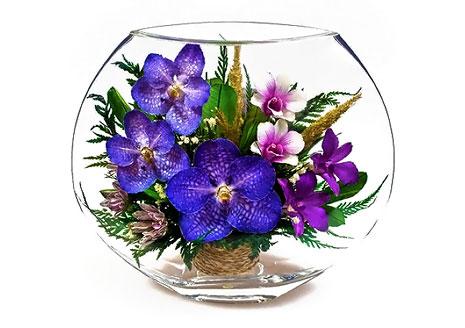 Оригинальные живые цветы в стекле и сладкие композиции! Скидка 50%!